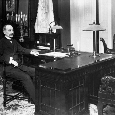 Ståhlberg in his office at the Presidential Palace. 