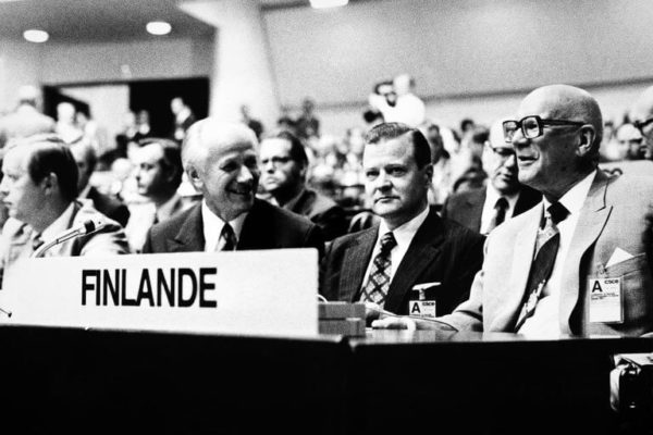 President Kekkonen with Kalevi Sorsa, Chairman of the SDP, Foreign Minister Olavi J. Mattila and Prime Minister Keijo Liinamaa at the Conference on Security and Cooperation in Europe (CSCE) in Helsinki in summer 1975. <em>Tapio Korpisaari, Helsinki 1975. Helsinki City Museum</em>