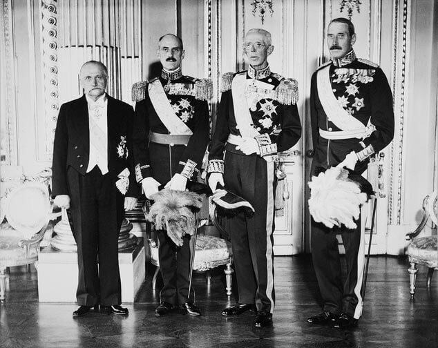 Meeting of the Nordic heads of state in Stockholm in October 1939. From left to right: President Kallio, King Haakon VII of Norway, King Gustaf V of Sweden and King Christian X of Denmark. <em>Stockholm 1939. National Board of Antiquities, Historical Picture Collection</em>