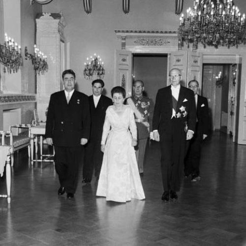Leonid Brezhnev as a guest of President Urho Kekkonen and Mrs Sylvi Kekkonen at a state banquet held at the Presidential Palace in September 1961. <em>Rudolf Valtonen, Helsinki 22 September 1961. National Board of Antiquities, Historical Picture Collection</em>
